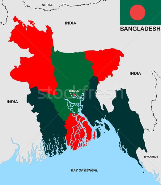 Bangladesh mapa político país bandeira ilustração Foto stock © tony4urban