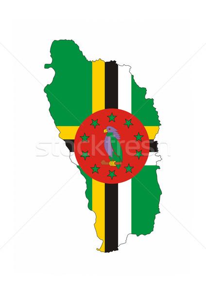 Dominica vlag kaart land vorm Stockfoto © tony4urban
