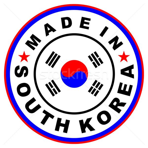 Güney Kore büyük boyut etiket bayrak ülke Stok fotoğraf © tony4urban
