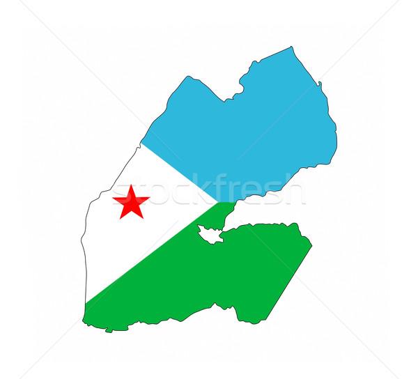Dżibuti banderą Pokaż kraju Zdjęcia stock © tony4urban