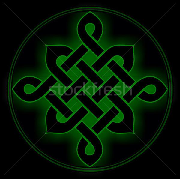Celtic nudo símbolo verde místico religiosas Foto stock © tony4urban
