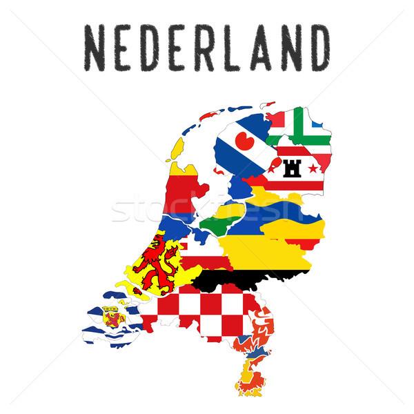 Netherlands regions map Stock photo © tony4urban