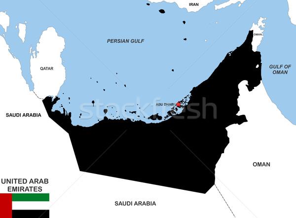 Объединенные Арабские Эмираты карта большой размер черный флаг Сток-фото © tony4urban