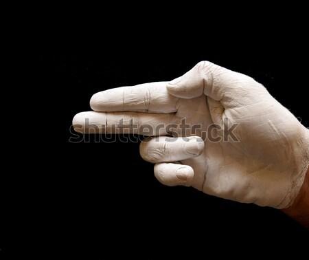 Letra h linguagem gestual americano alfabeto mãos pintado Foto stock © tony4urban