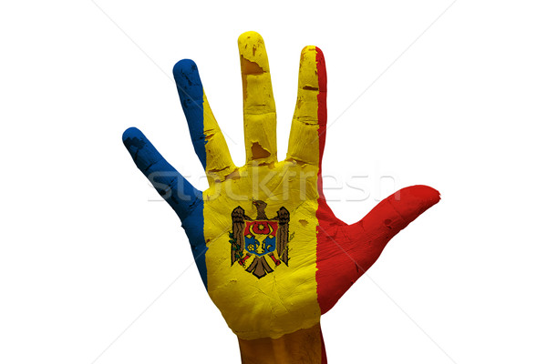 Pálma zászló Moldova férfi kéz festett Stock fotó © tony4urban