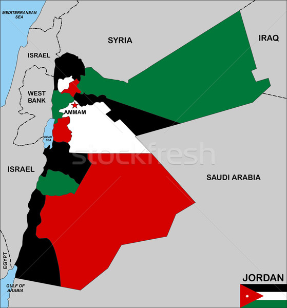 Jordanië kaart groot maat politiek illustratie Stockfoto © tony4urban