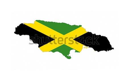 Jamaica bandera mapa país forma Foto stock © tony4urban