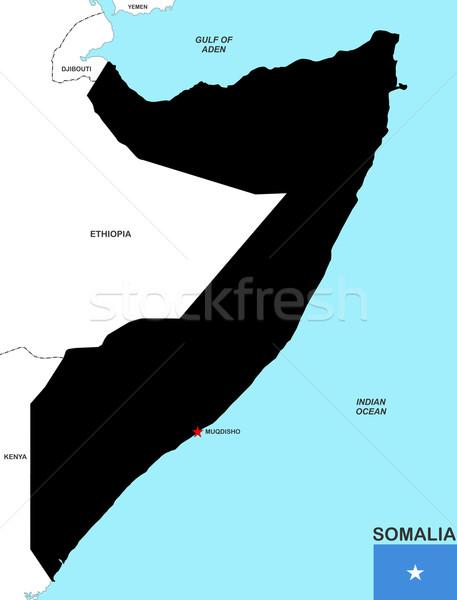 ソマリア 地図 ビッグ サイズ 黒 フラグ ストックフォト © tony4urban