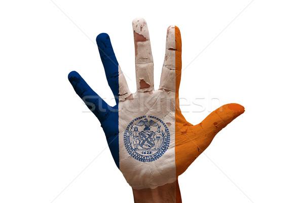 Zdjęcia stock: Dłoni · banderą · Nowy · Jork · człowiek · strony · pięść