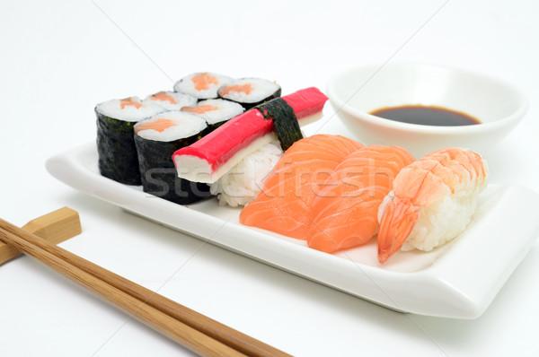 Sushi dienblad detail zalm witte vis Stockfoto © tony4urban