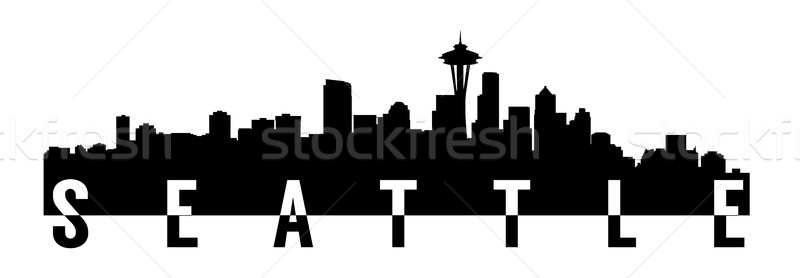Seattle grand taille silhouette texte Photo stock © tony4urban
