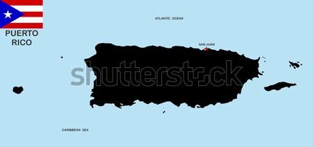 Puerto Rico kaart groot maat zwarte illustratie Stockfoto © tony4urban