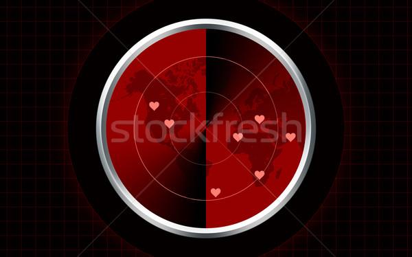 Miłości radar komputera wygenerowany vintage czerwony Zdjęcia stock © tony4urban