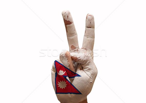 Hand teken Nepal land vlag Stockfoto © tony4urban