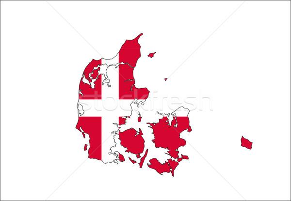 Dinamarca bandeira mapa país forma Foto stock © tony4urban