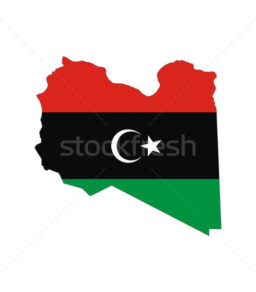 Libië vlag kaart land vorm Stockfoto © tony4urban