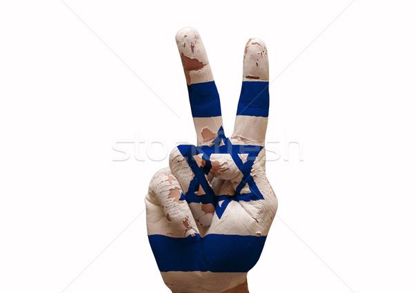 Hand teken Israël land vlag Stockfoto © tony4urban
