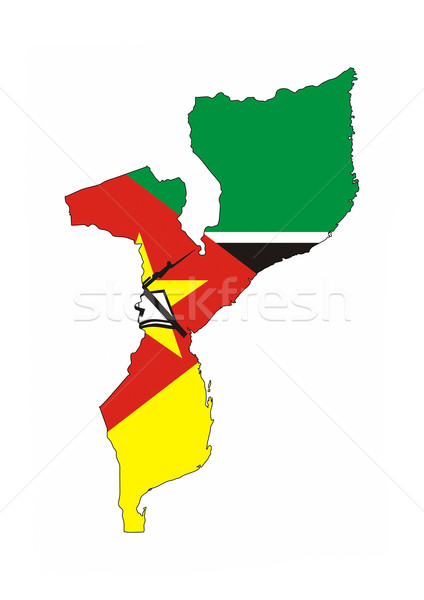 Mozambique vlag kaart land vorm Stockfoto © tony4urban