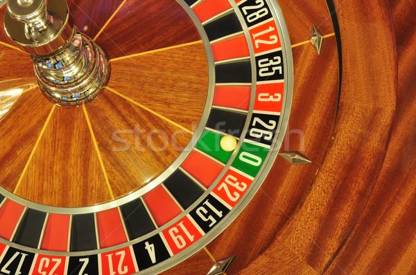 Rueda de la ruleta imagen casino pelota número cero Foto stock © tony4urban