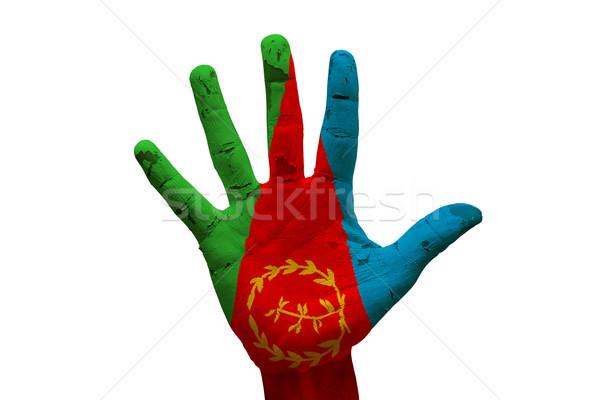Dłoni banderą Erytrea człowiek strony pięść Zdjęcia stock © tony4urban