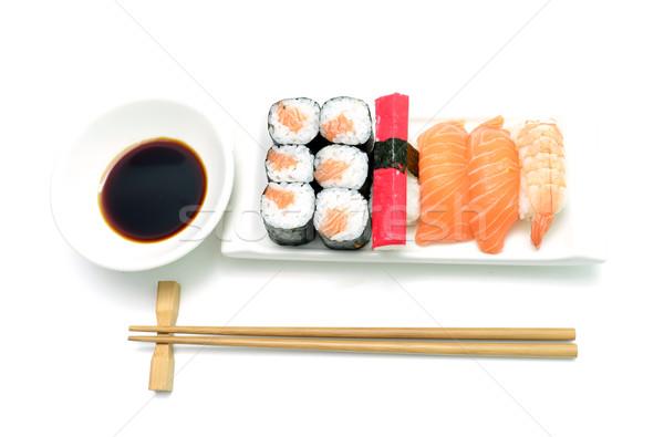 salmon and surimi sushi Stock photo © tony4urban