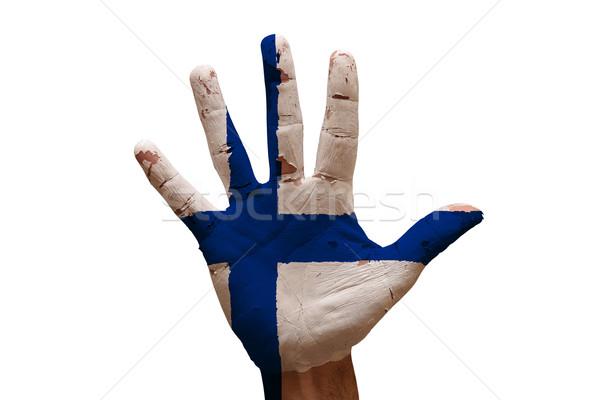 Palmiye bayrak Finlandiya adam el boyalı Stok fotoğraf © tony4urban