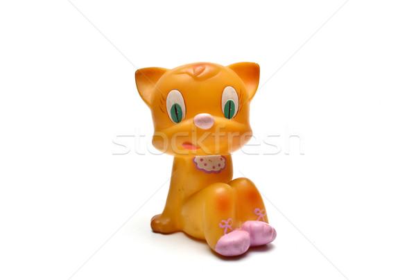 Geel kat speelgoed communist tijdperk retro Stockfoto © tony4urban