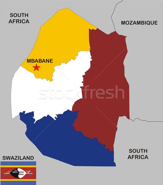 Suazi Pokaż polityczny kraju banderą regiony Zdjęcia stock © tony4urban
