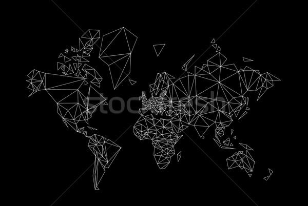 Világtérkép alacsony feketefehér térkép világ fekete Stock fotó © tony4urban