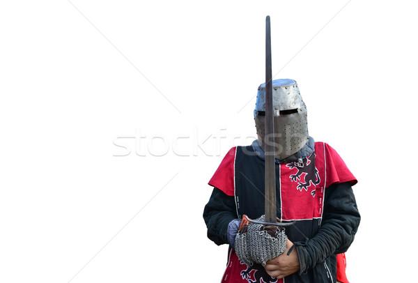 Medieval armadura caballero metal casco aislado Foto stock © tony4urban