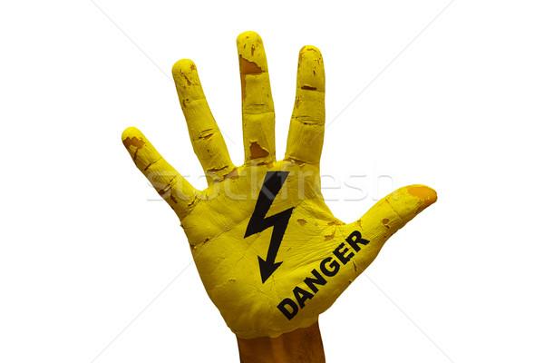 Palm gevaar man hand geschilderd voorzichtigheid Stockfoto © tony4urban