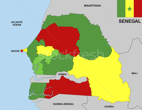 Senegal mapa grande tamanho político bandeira Foto stock © tony4urban