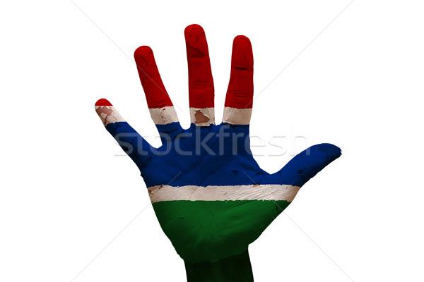 Dłoni banderą Gambia człowiek strony malowany Zdjęcia stock © tony4urban