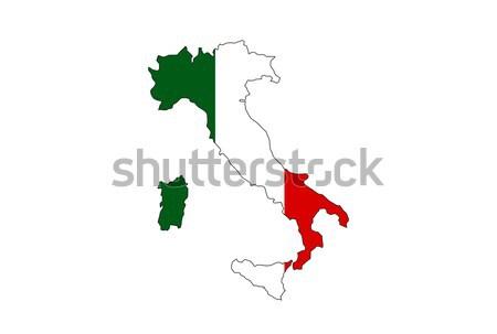 Italië land vlag kaart vorm tekst Stockfoto © tony4urban