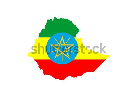 Etiopia banderą Pokaż kraju symbol Zdjęcia stock © tony4urban