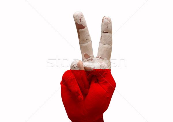 Mano signo Polonia país bandera Foto stock © tony4urban