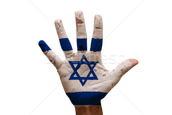 Pálma zászló Izrael férfi kéz festett Stock fotó © tony4urban