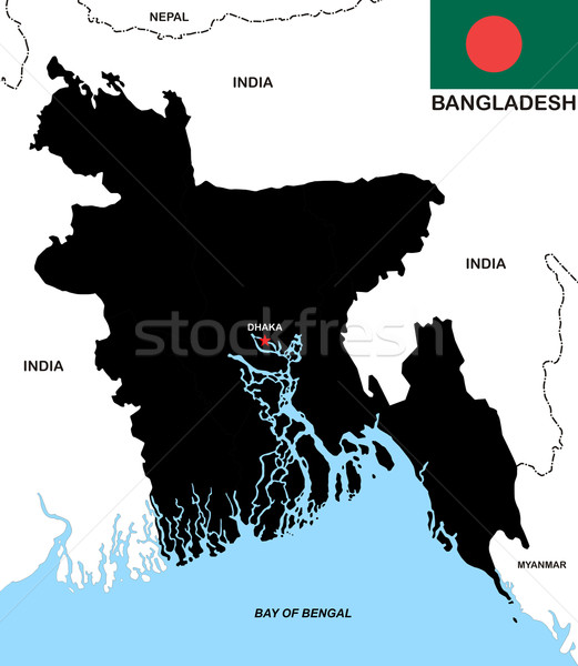 Bangladesh kaart zwarte land vlag illustratie Stockfoto © tony4urban