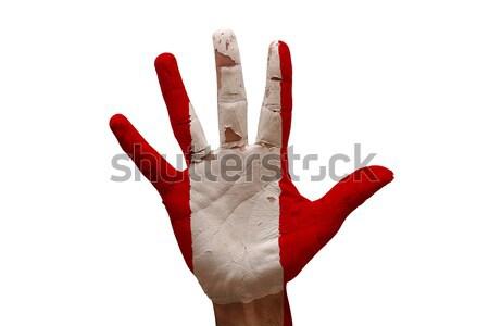 Dłoni banderą Peru człowiek strony malowany Zdjęcia stock © tony4urban