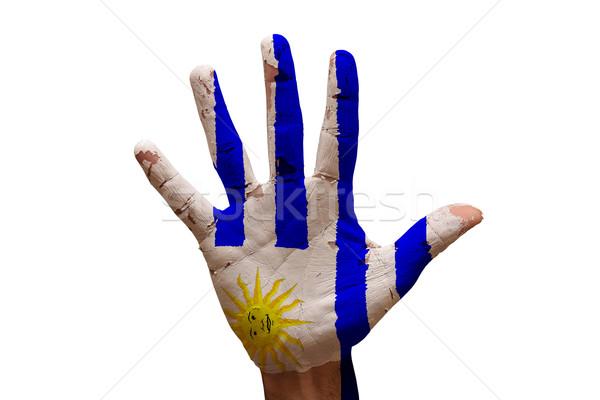 Pálma zászló Uruguay férfi kéz festett Stock fotó © tony4urban