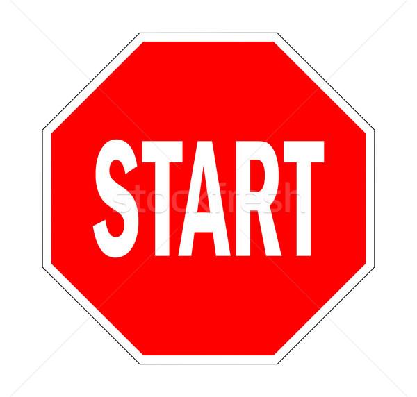 開始 道路標識 トラフィック 停止 のような 道路 ストックフォト © tony4urban