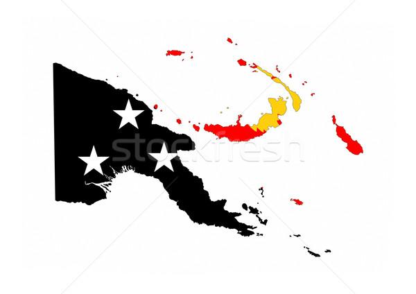 Papoea-Nieuw-Guinea vlag kaart land vorm Stockfoto © tony4urban