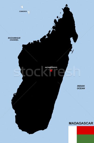 マダガスカル 地図 ビッグ サイズ 黒 実例 ストックフォト © tony4urban