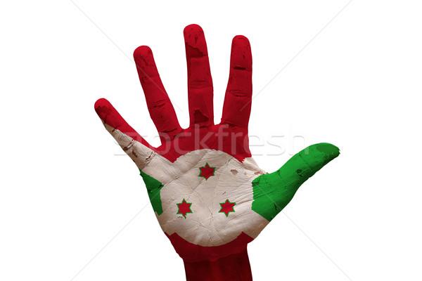Palma bandeira Burundi homem mão pintado Foto stock © tony4urban