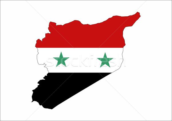 Syrië vlag kaart land vorm Stockfoto © tony4urban