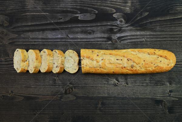 Rústico pan oscuro madera baguette Foto stock © tony4urban