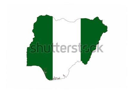 Nijerya bayrak harita ülke biçim Stok fotoğraf © tony4urban