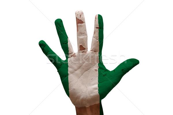 Palma bandeira Nigéria homem mão pintado Foto stock © tony4urban