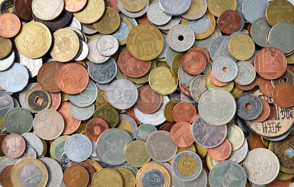 Internacional monedas textura metal dinero patrón Foto stock © tony4urban