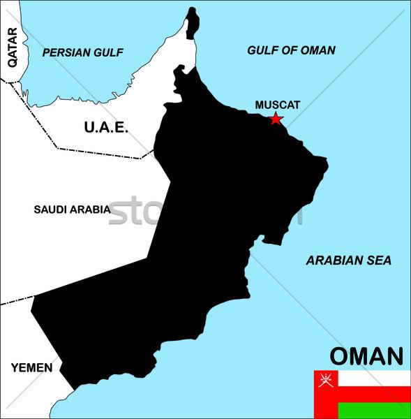 Umman harita büyük boyut siyasi bayrak Stok fotoğraf © tony4urban